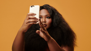 Lizzo on the phone